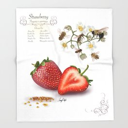 Strawberry and Pollinators Throw Blanket