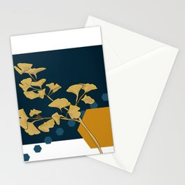 Gingko and hexagons Stationery Cards