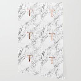 Monogram rose gold marble T Wallpaper