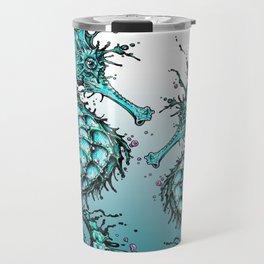 Cyan Seahorse Travel Mug