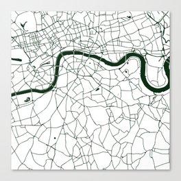 London White on Green Street Map Canvas Print