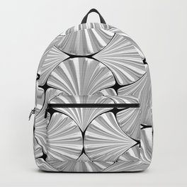 3-D Art Deco Silver Shells Pattern Backpack