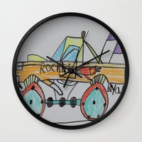 truck Wall Clocks featuring Rocket Truck by Ryan van Gogh