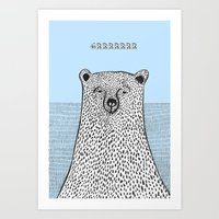 Art Print featuring Grrrrumpy Bear by Pizublic Illustration