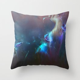 Fighting Fishes Throw Pillow