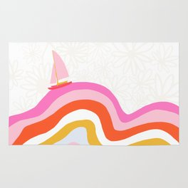 catalina, sailing waves Rug