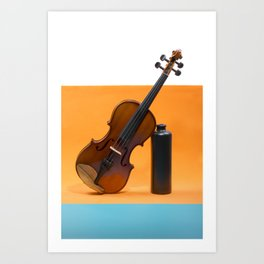 Still-life with a violin and a dark bottle Art Print