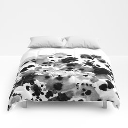 Rania - abstract black and white minimal scandi painting pattern ink Comforters