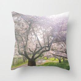 Spring cherry blossom Throw Pillow