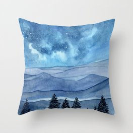 """Blue Hills"" watercolor landscape painting Throw Pillow"