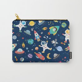 Outer Space Astronauts Aliens Pattern Blue Carry-All Pouch