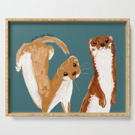 Funny Weasel ( Mustela nivalis ) Serving Tray