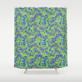 Vibrant Green Ginkgo Leaves in Dancing Branches Shower Curtain