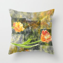Graphic Tulips Throw Pillow