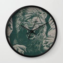 Angry Male Lion pattern graphics kazakh al fabric Wall Clock