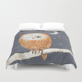 Winking Owl by the Light of the Moon Duvet Cover