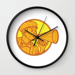 Movie Director Megaphone Vintage Circle Mono Line Wall Clock