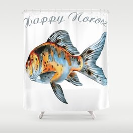 Happy Norooz Shubunkin Goldfish Persian New Year Shower Curtain