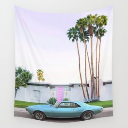 Palm Springs Pink Door Wall Tapestry