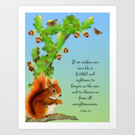 1 John 1 v9 If We Confess Our Sins He is Faithful and Just Red  Squirrel Oak Tree Acorn Watercolour Art Print