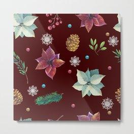Colorful Christmas Red White Poinsettia Pine Cones Snowflakes Metal Print