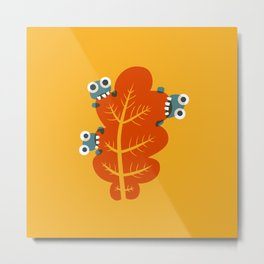Cute Bugs Eat Autumn Leaf Metal Print