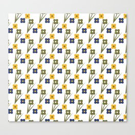 Garden Bold Floral Green Blue and Yellow Tiny Flower Pattern Canvas Print