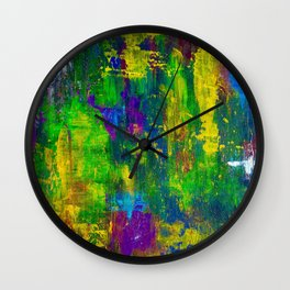 """""""Purple Swamp"""" Abstract Acrylic Painting by Noora Elkoussy Wall Clock"""