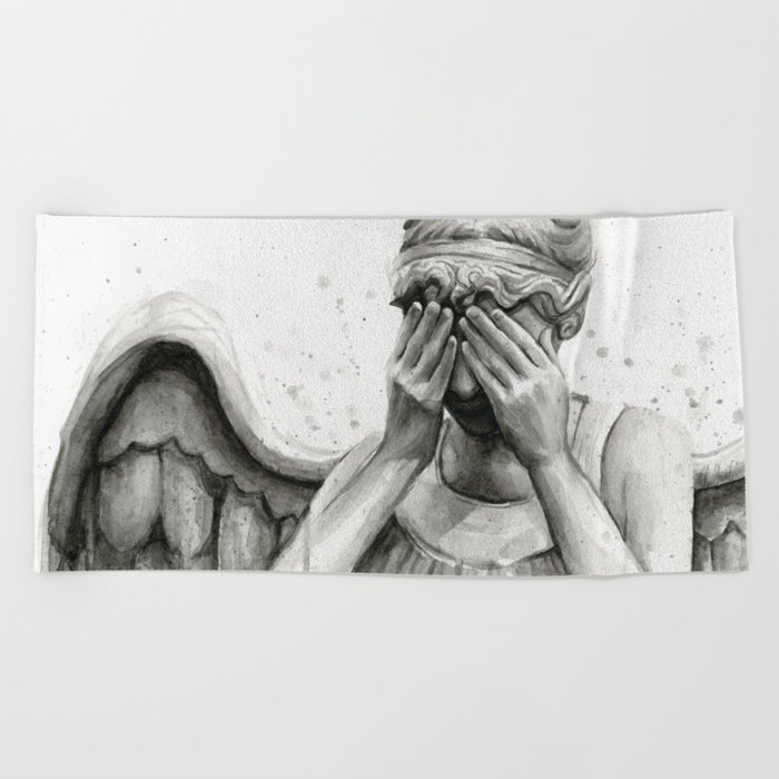 Weeping Angel Watercolor Painting Beach Towel