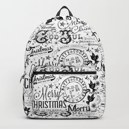 Black and White Christmas Typography Design Backpack