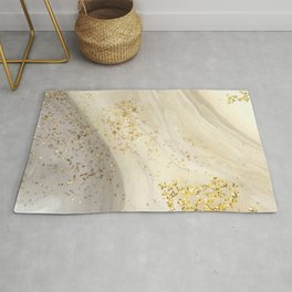 Marbled Paint Swirls in Cream, White and Gold Rug