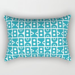 Mid Century Abstract Pattern Turquoise Cerulean Rectangular Pillow