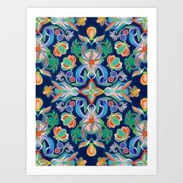 Boho Navy and Brights Art Print