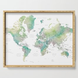 Watercolor world map in muted green and brown, with country capitals Serving Tray