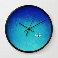 airplane Wall Clocks featuring Airplane by Brad Newman