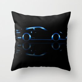 Blue Flash Fast Car Throw Pillow