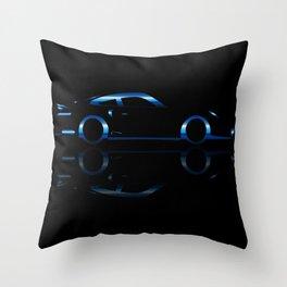 Blue Flash Fast Car Throw Pillow