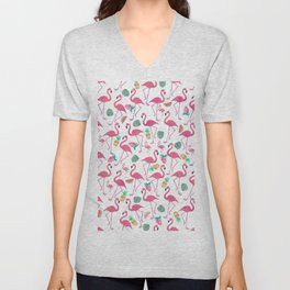 Tropical pink watercolor flamingo sweet summer fruit pattern Unisex V-Neck