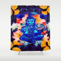 ganesh Shower Curtains featuring ganesh by Candice Steele Collage and Design