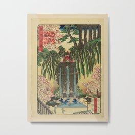 Nansuitei Yoshiyuki - 100 Views of Naniwa: The waterfall at Momiji-zaka Shin-Kiyomizu Temple (1880s) Metal Print