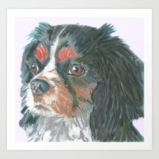 Cavalier King Charles Spaniel , Jiri Bures original art and design Art Print