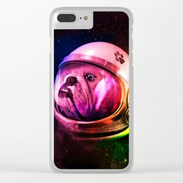 dog in space Clear iPhone Case