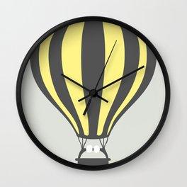 Yellow Hot Air Balloon Wall Clock