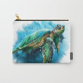 Abstract Watercolor Sea Turtle on White 3 Minimalist Coastal Art - Coast - Sea - Beach - Shore Carry-All Pouch
