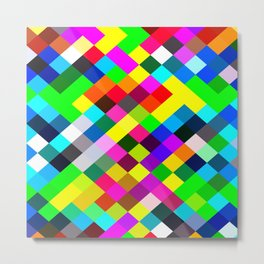geometric square pixel pattern abstract in blue yellow pink green red Metal Print