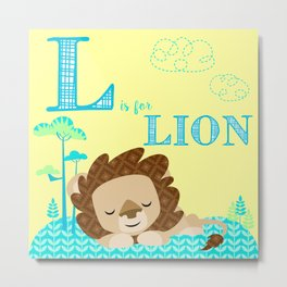 L is for Lion Metal Print