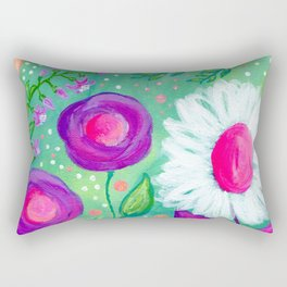 White Flowers, Purple Flowers, Floral Painting for Girl, Nursery Decor, Green, Blue, Coral Art Rectangular Pillow