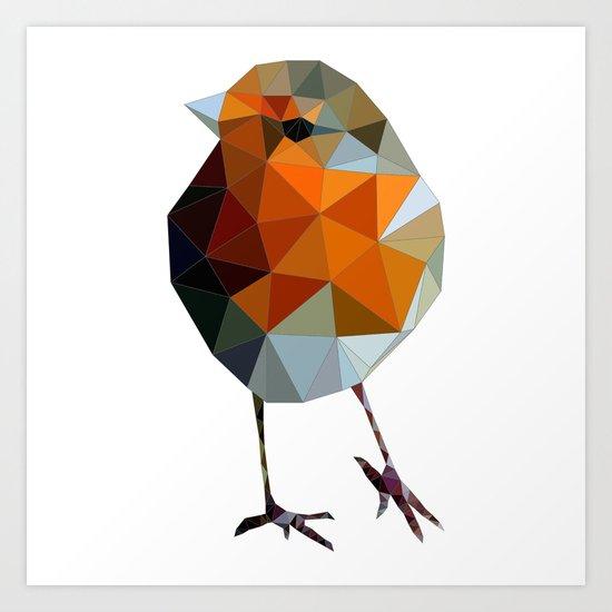 Christmas Poly robin Art Print