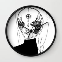 tulip Wall Clocks featuring Tulip by Isabella Smith