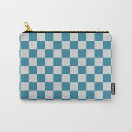 Teal and Grey Check Carry-All Pouch